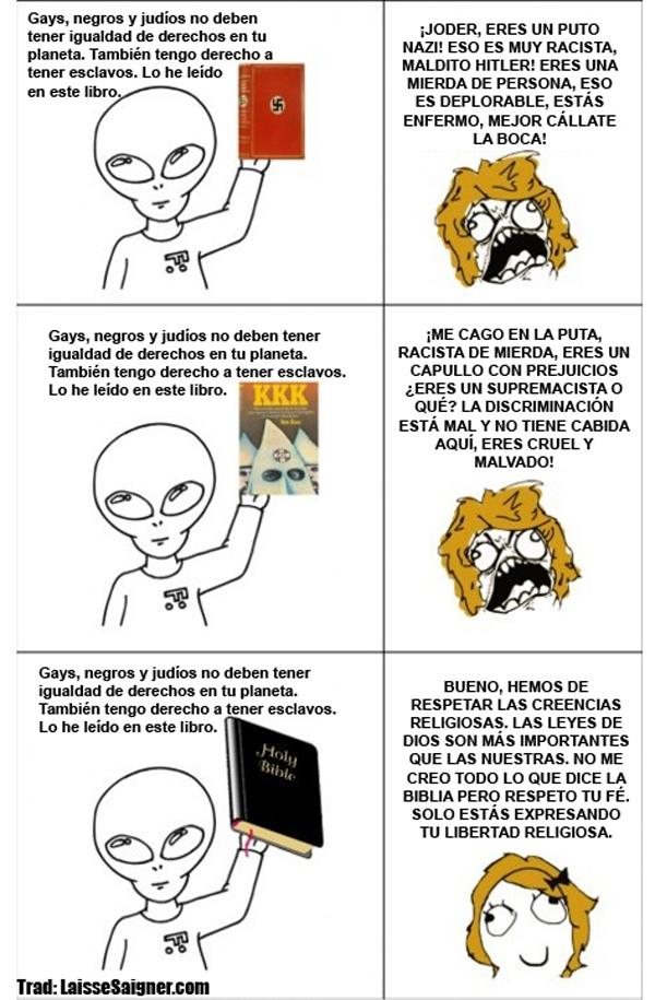 meme, aliens, negros, judios, gays, humor, cristianismo, biblia
