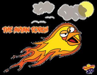 Human Torch Superheroes estilo Angry Birds