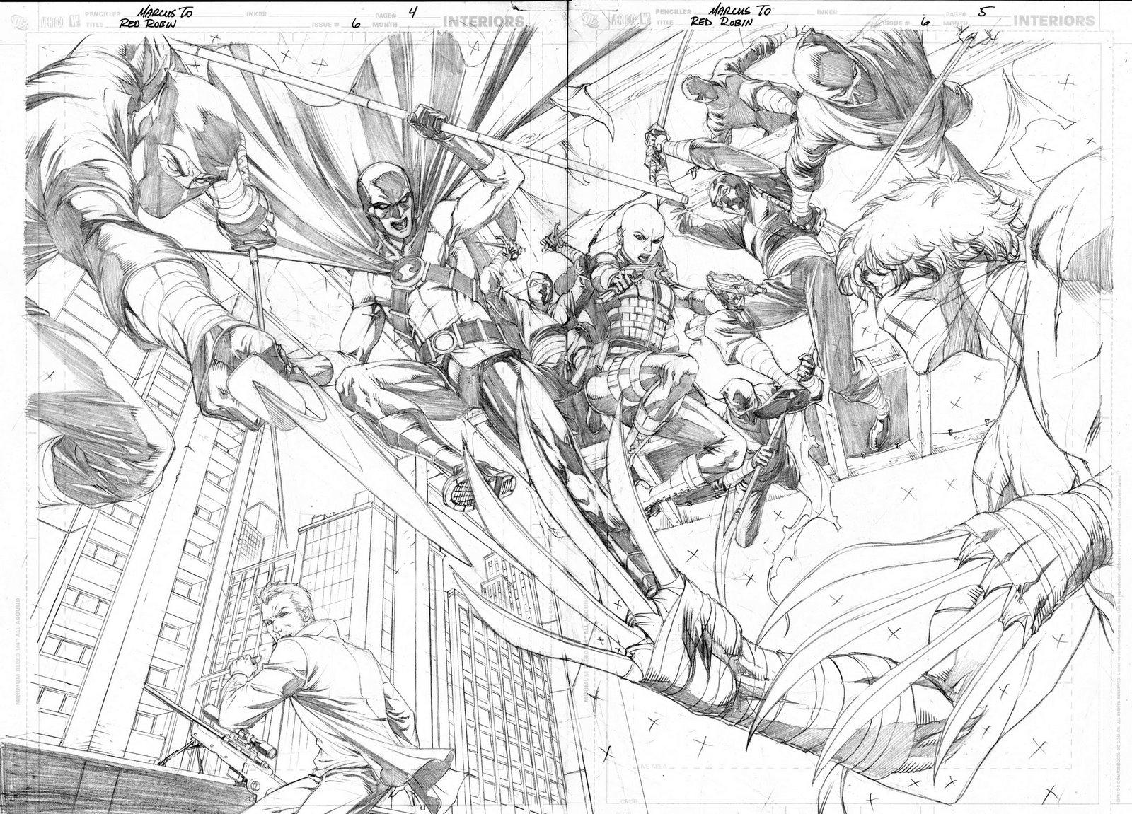 Red Robin #6 Bocetos paginas internas double splash