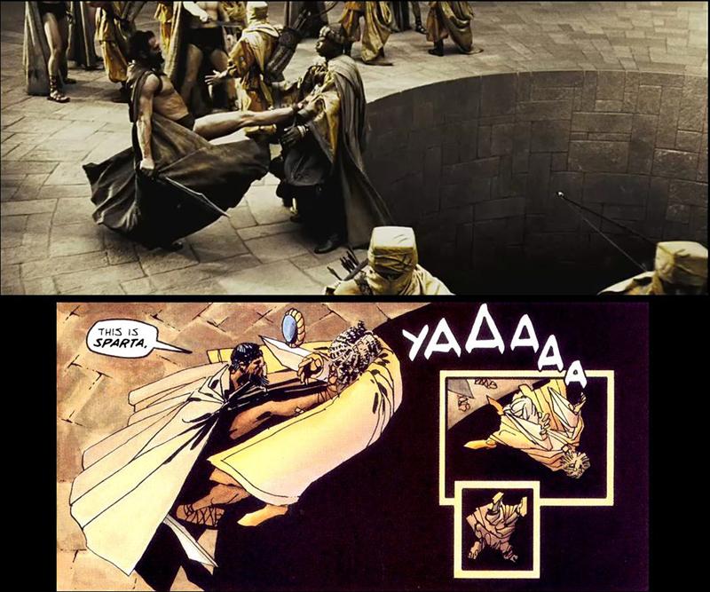 300 comic, 300 pelicula, 300 viñeta, comparaciones comic y cine, leonidas 300, this is sparta, escena del foso espartano
