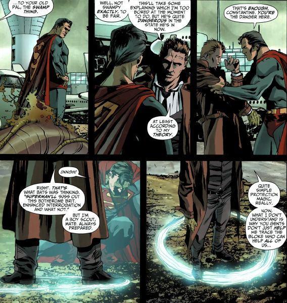 Constantine arrodillando a Superman, Brightest Day Aftermath