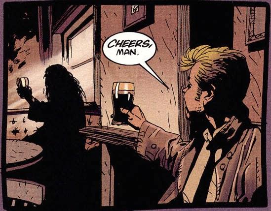Constantine brindando con Alan Moore, Hellblazer 120