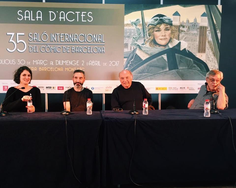 Mesa de Historieta Argentina - Salón Internacional del Cómic (Barcelona, 2017) Sole Otero con Lucas Varela, Horacio Altuna y José Muñoz.